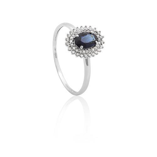 Anel de Ouro 18k de Formatura com Safira e Diamante