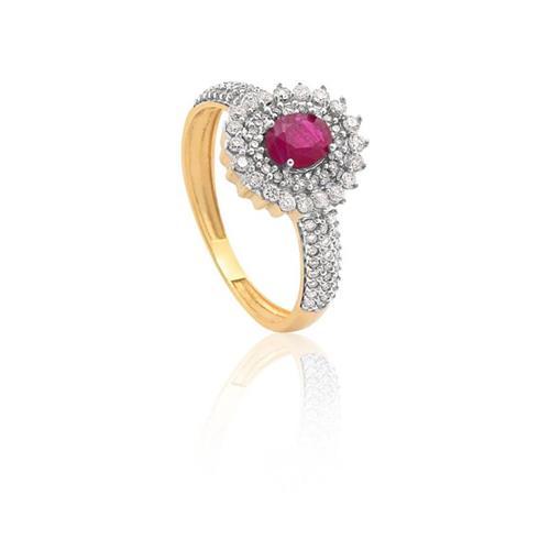 Anel de Ouro Amarelo 18k de Formatura com Rubi e Diamante