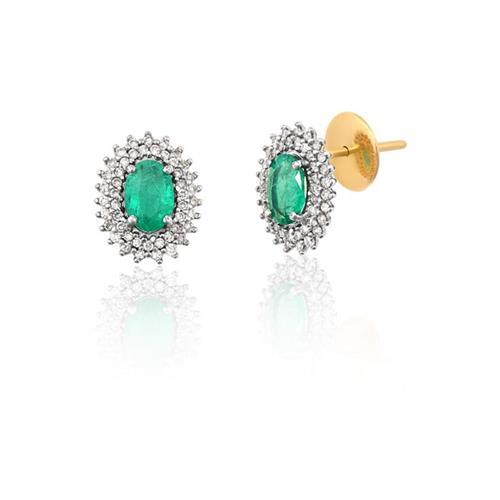 Brinco de Ouro 18k com Esmeralda e Diamante