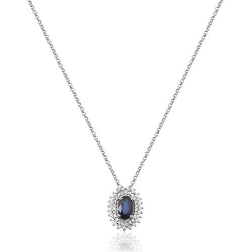 Gargantilha de Ouro 18k com Safira e Diamante.