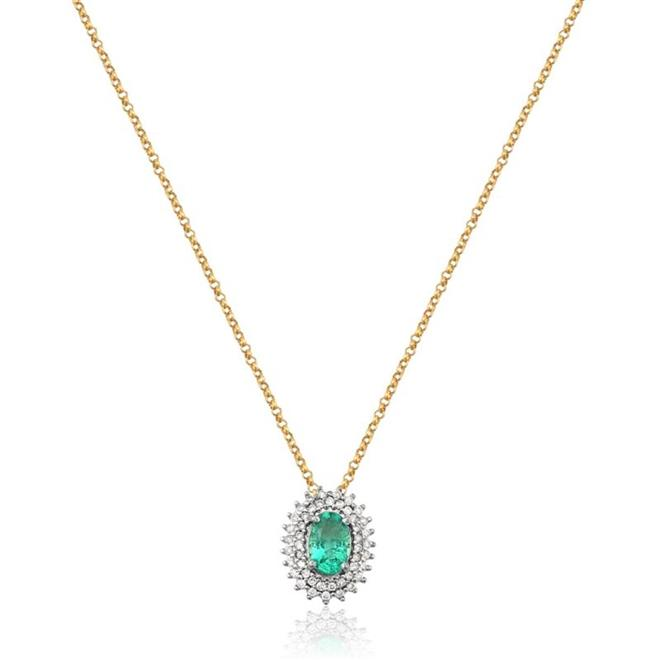 71aebab019828 Gargantilha de Ouro 18k com Esmeralda e Diamante - GFN9242 0070 ...