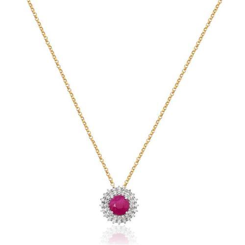 Gargantilha de Ouro 18k com Rubi e Diamante