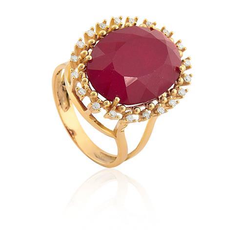 Anel de Ouro 18k com Rubi Malasia e Diamante