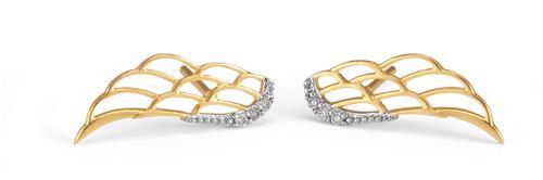 Brinco de Ouro 18k Asa com Diamante
