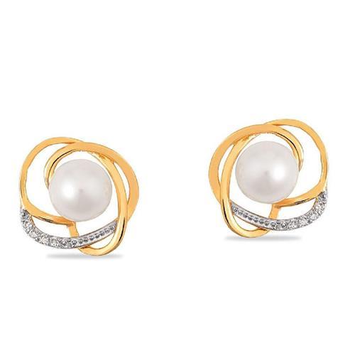 Brinco de Ouro 18k com Pérola e Diamante