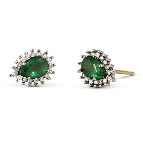 Brinco de Ouro 18k com Diamantes e Esmeralda