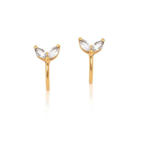 Brinco de Ouro 18k Piercing com Cristal
