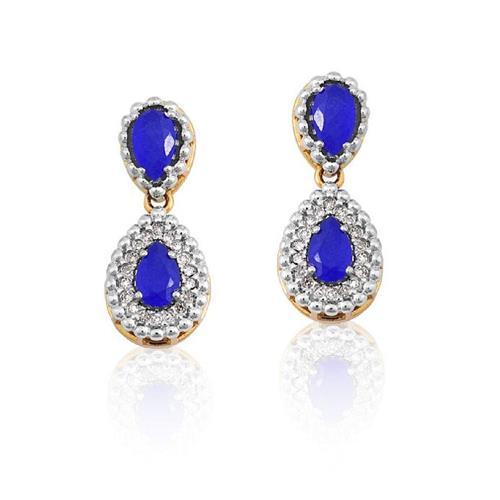 Brinco de Ouro 18k com Jade Azul e Diamante