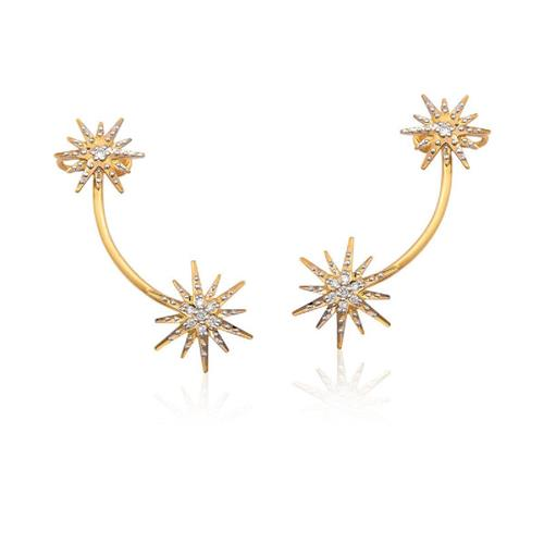 Brinco de Ouro 18k Ear Cuff com Diamante