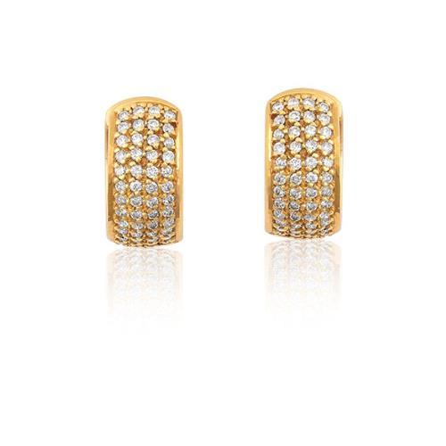 Brinco de Ouro de Argola 18k com Diamante