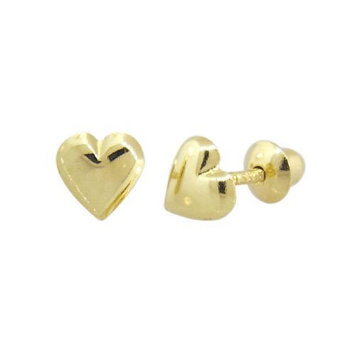 Brinco de Ouro Infantil  18k de Coração