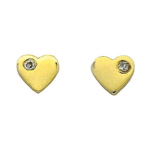 Brinco de Ouro Infantil  18k de Coração com Diamante