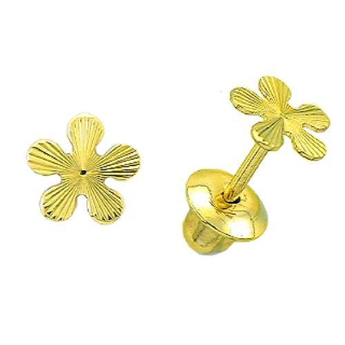 Brinco de Ouro Infantil  18k de Trevo
