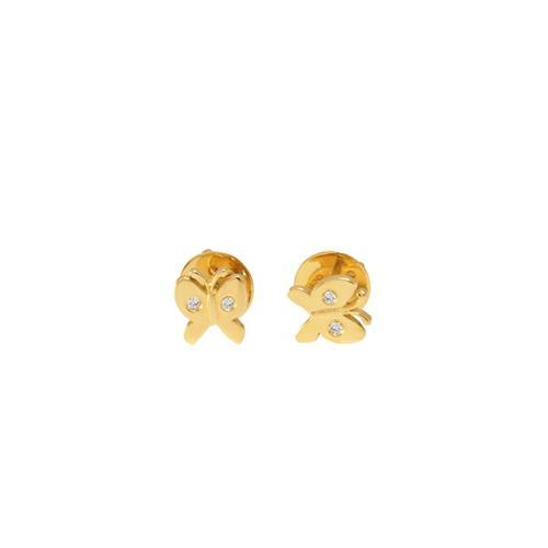 Brinco de Ouro Infantil 18k Borboleta com Diamante