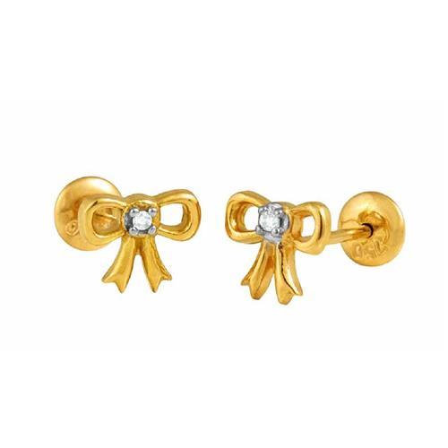 Brinco de Ouro Infantil  18k com Diamante