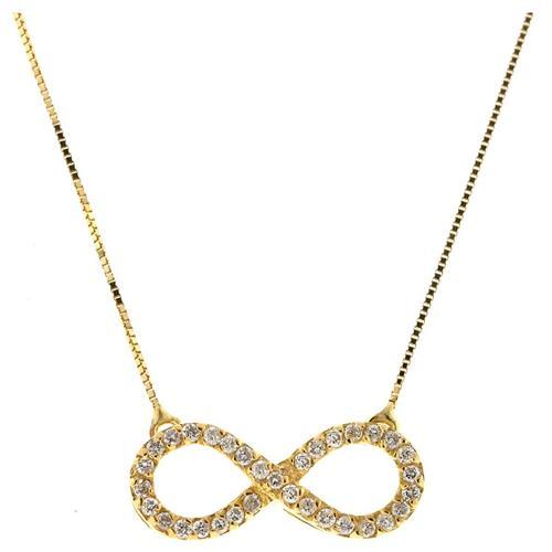 Gargantilha de Ouro 18k de Infinito com Diamante