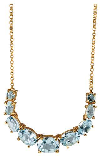Gargantilha de Ouro 18k com Topázio Azul