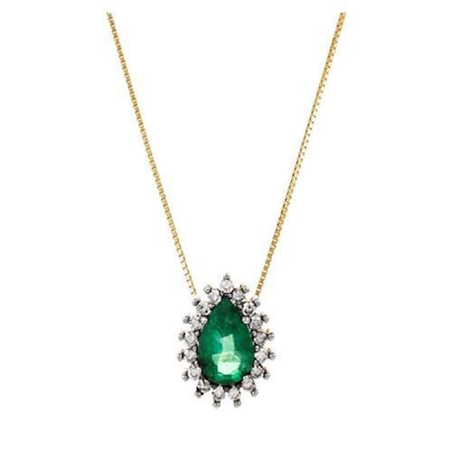 Gargantilha de Ouro 18k com Diamante e Esmeralda