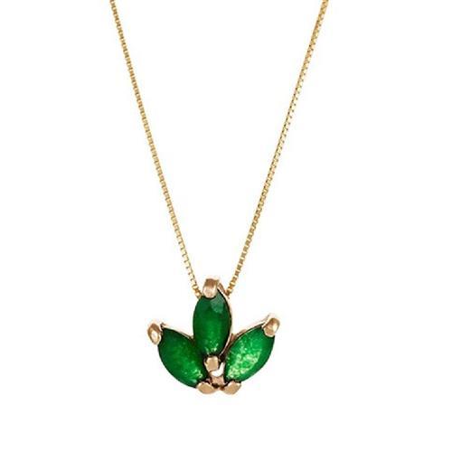 Gargantilha de Ouro 18k com Navetes de Jade Verde