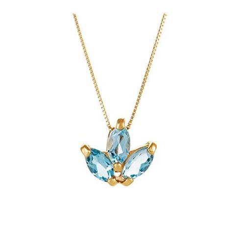 Gargantilha de Ouro 18k com Navetes de Topázio Azul