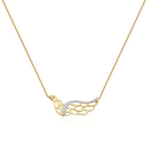 Gargantilha de Ouro 18k Asa com Diamante