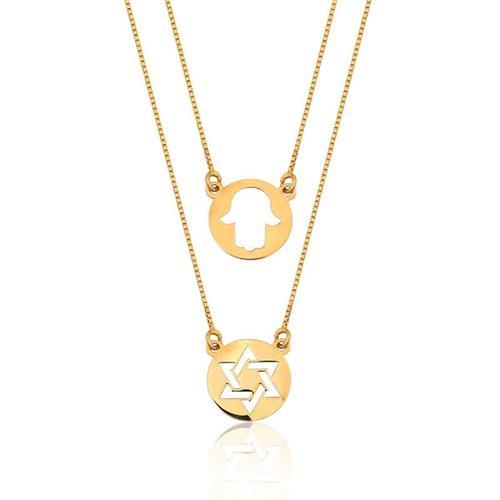 Escapulário de Ouro 18k de Estrela de Davi e Mão Hansa
