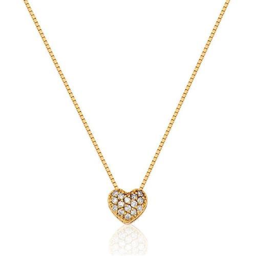 Gargantilha de Ouro 18k de Coração com Diamante