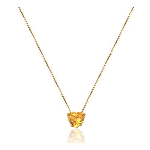 Gargantilha de Ouro 18k de Coração com Citrino