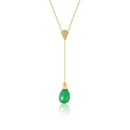 Gargantilha de Ouro 18k com Esmeralda e Diamante