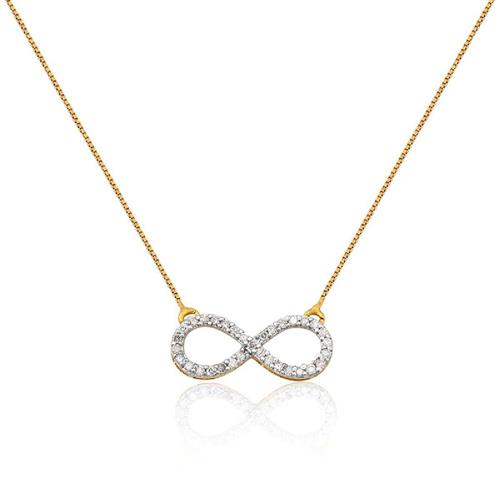 Gargantilha em Ouro 18k de Infinito com Diamante