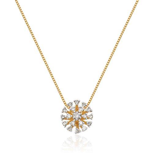 Gargantilha de Ouro 18k de Chuveiro com Diamante