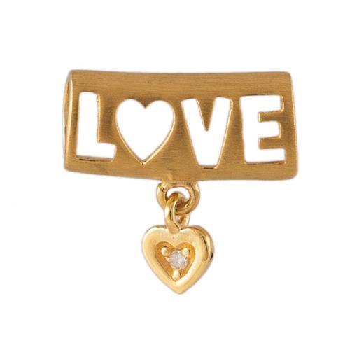 Pingente de Ouro 18k de Love com Diamante