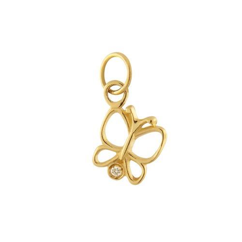 Pingente de Ouro 18k de Borboleta com Diamante