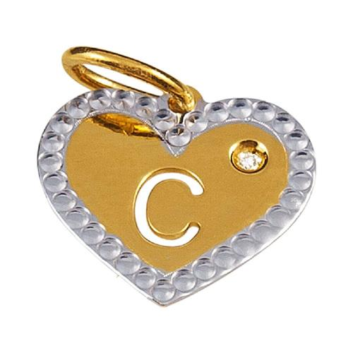 Pingente de Ouro 18k de Letra C com Diamante