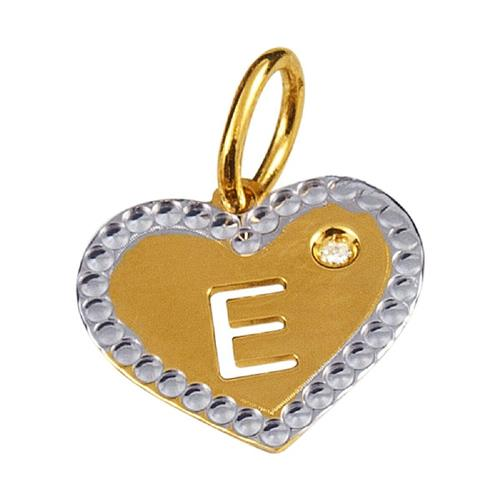 Pingente de Ouro 18k de Letra E com Diamante