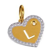Pingente de Ouro 18k de Letra L com Diamante