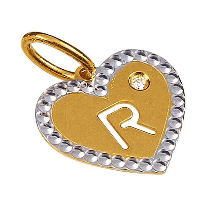 0aec400e6938b Pingente de Ouro 18k de Letra R com Diamante - P.01092R - Coliseu