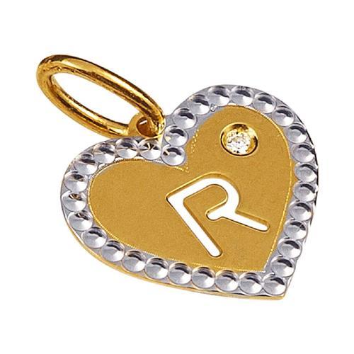 Pingente de Ouro 18k de Letra R com Diamante