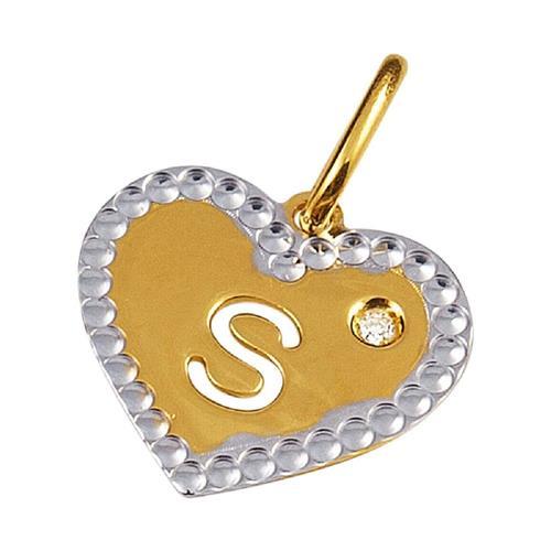 Pingente de Ouro 18k de Letra S com Diamante