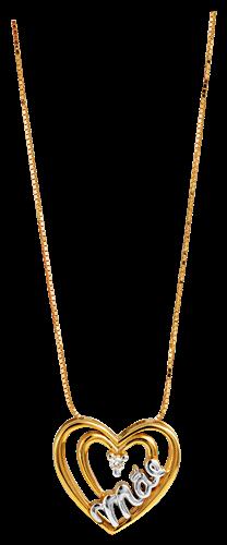 Pingente de Ouro 18k de Coração Mãe com Diamante