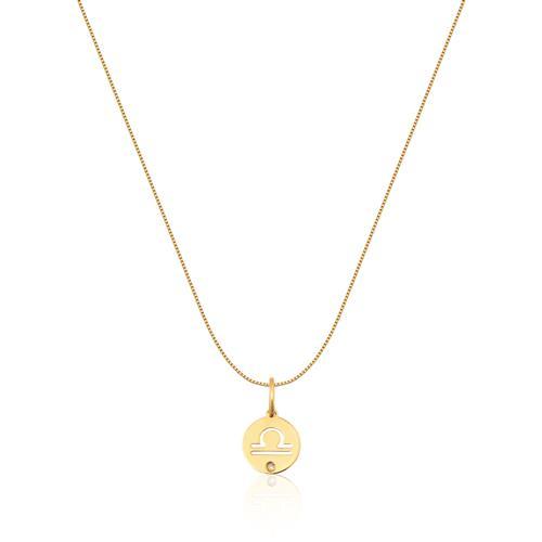 Pingente de Ouro 18k de Signo Libra com Diamante