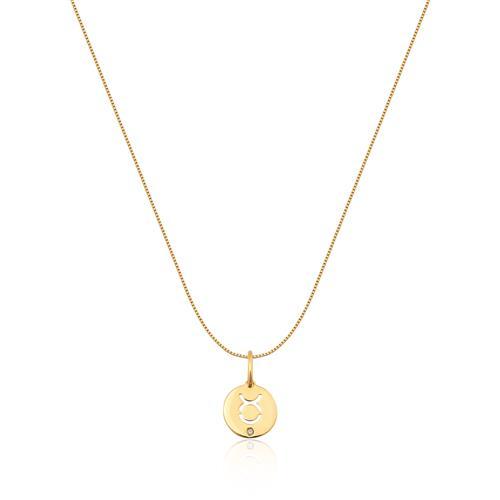 Pingente de Ouro 18k de Signo Touro com Diamante