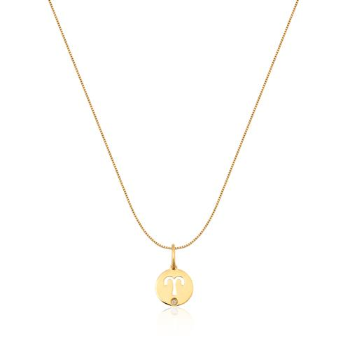Pingente de Ouro 18k de Signo Áries com Diamante