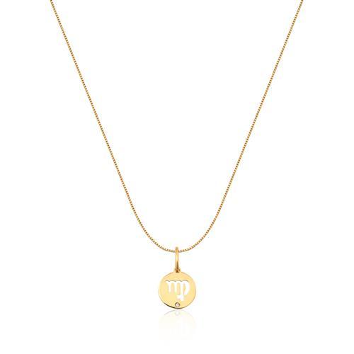 Pingente de Ouro 18k de Signo Virgem com Diamante
