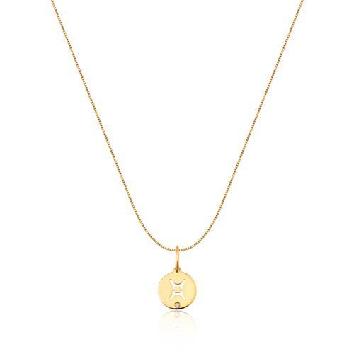 Pingente de Ouro 18k de Signo Gêmeos com Diamante