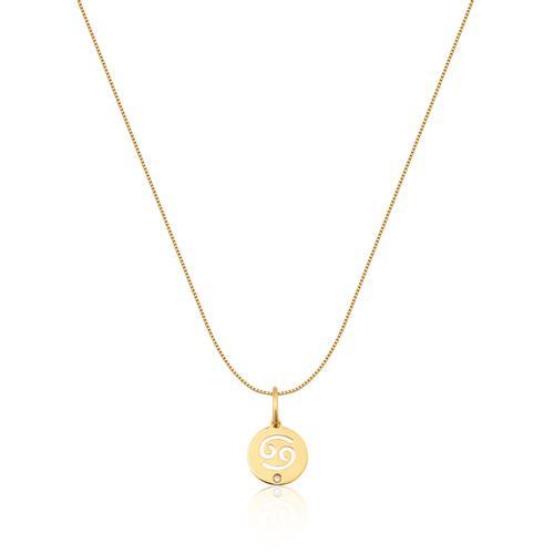 Pingente de Ouro 18k de Signo Câncer com Diamante