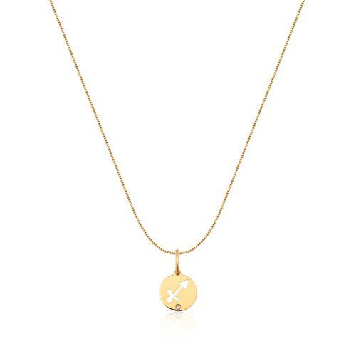 Pingente de Ouro 18k de Signo Sagitário com Diamante