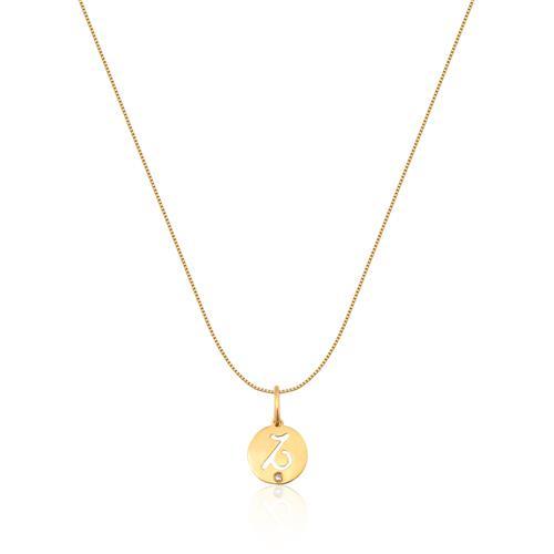 Pingente de Ouro 18k de Signo Capricórnio com Diamante