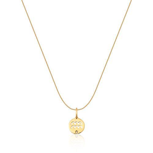 Pingente de Ouro 18k de Signo Aquário com Diamante