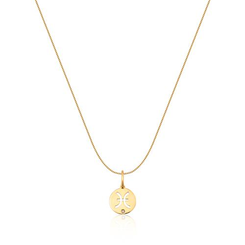Pingente de Ouro 18k de Signo Peixes com Diamante